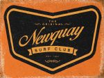 VINTAGE STYLE RETRO METAL WALL SIGN TIN PLAQUE NEWQUAY SURF CLUB SURFING GIFT